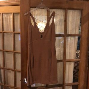 Free people brown lace up dress